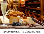 champagne with cheese | Shutterstock . vector #1225360786