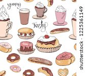 seamless pattern with pastry.... | Shutterstock .eps vector #1225361149