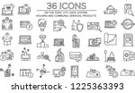 36 vector icons set with... | Shutterstock .eps vector #1225363393
