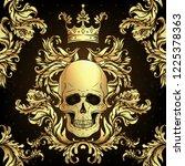 beautiful bohemian damask... | Shutterstock .eps vector #1225378363