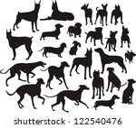 Stock vector silhouette of the dogs 122540476