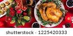 baked turkey. christmas dinner. ... | Shutterstock . vector #1225420333