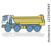 blue yellow outlined truck ... | Shutterstock .eps vector #1225442869