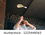 skilled chef preparing dough... | Shutterstock . vector #1225448563