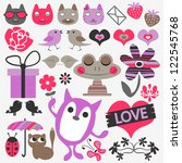 set of cute romantic scrapbook... | Shutterstock .eps vector #122545768