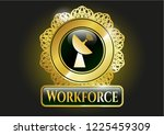 gold shiny emblem with radar... | Shutterstock .eps vector #1225459309