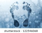 Male Foot Prints On Frozen...