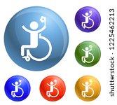 man prosthesis leg icons set... | Shutterstock .eps vector #1225462213