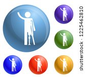man prosthesis hand icons set... | Shutterstock .eps vector #1225462810