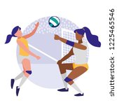 young girls playing volleyball   Shutterstock .eps vector #1225465546