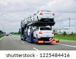 car carrier truck in the... | Shutterstock . vector #1225484416