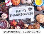 happy thanksgiving meal cut out ...   Shutterstock . vector #1225486750
