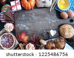 empty chopping board surrounded ...   Shutterstock . vector #1225486756