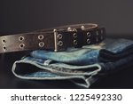 rock style leather belt for men.... | Shutterstock . vector #1225492330