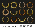 vector laurel autumn wreaths on ... | Shutterstock .eps vector #1225496539