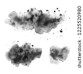 black watercolor stains on a... | Shutterstock . vector #1225520980