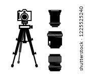 photographic camera in tripod... | Shutterstock .eps vector #1225525240