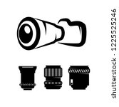 photographic camera with set... | Shutterstock .eps vector #1225525246