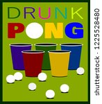 beer pong design with cups and... | Shutterstock .eps vector #1225528480