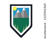 shield with mountains  sky  sun ... | Shutterstock .eps vector #1225541569