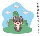 cat in bushy landscape cartoon | Shutterstock .eps vector #1225549720