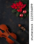 old violin and fir tree... | Shutterstock . vector #1225556899