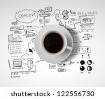 coffee cup and business... | Shutterstock . vector #122556730