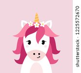 unicorn vector head on pink... | Shutterstock .eps vector #1225572670