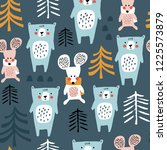 seamless winter pattern with... | Shutterstock .eps vector #1225573879