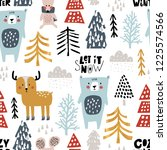seamless winter pattern with... | Shutterstock .eps vector #1225574566