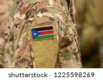 south sudan flag on soldiers... | Shutterstock . vector #1225598269