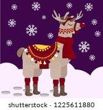 cheerful alpaca dressed in... | Shutterstock .eps vector #1225611880