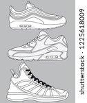 outline vector basketball shoes ... | Shutterstock .eps vector #1225618009
