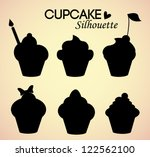 set of cupcake silhouettes | Shutterstock .eps vector #122562100