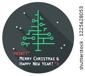 vector christmas icon new year... | Shutterstock .eps vector #1225628053