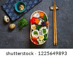 japanese bento box with chicken ... | Shutterstock . vector #1225649893