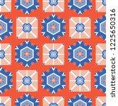 1950s style retro daisy polka...   Shutterstock .eps vector #1225650316