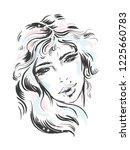 fashion illustration. portrait...   Shutterstock .eps vector #1225660783