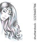 fashion illustration. portrait...   Shutterstock .eps vector #1225660786