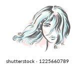beautiful girl portrait. bob... | Shutterstock .eps vector #1225660789