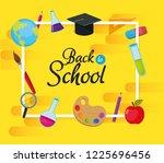 school education supplies... | Shutterstock .eps vector #1225696456