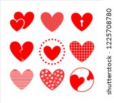 hearts hand drawn collection... | Shutterstock .eps vector #1225708780
