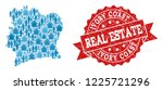 real estate composition of blue ... | Shutterstock .eps vector #1225721296