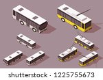 set big and small bus trolley...   Shutterstock .eps vector #1225755673