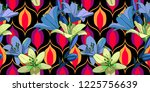 lilies on vintage seamless... | Shutterstock .eps vector #1225756639
