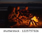 camp on the beach. group of... | Shutterstock . vector #1225757326