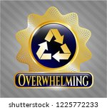 gold shiny emblem with recycle ... | Shutterstock .eps vector #1225772233