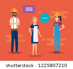 group of workers talking... | Shutterstock .eps vector #1225807210