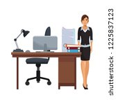 business woman at office | Shutterstock .eps vector #1225837123