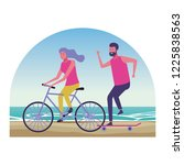 people at beach | Shutterstock .eps vector #1225838563